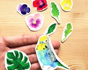 Parakeet Palm Leaf Tropical Flowers Sticker Pack, 9 Watercolor Vinyl Sticker Bundle| Hand drawn Bird Clear Hand Cut Cute Stickers