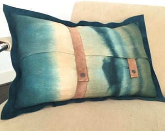 Unique hand made pillow leather with linen