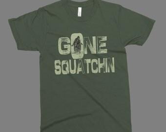 Gone squatchin sasquatch funny t-shirt printed on American Apparel  t-shirt men women tshirt tank tops S-5XL