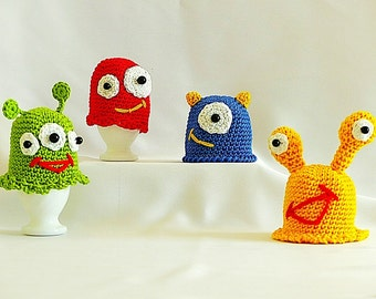 "PDF: Egg Cozy ""Funny Breakfast Monsters"" Crochet Pattern"