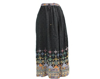 vintage embroidered skirt • fortune teller costume • black boho skirt • boho maxi skirt • drawstring maxi skirt • long skirt women • S M L