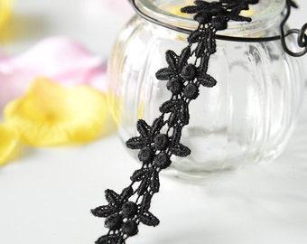 "10 yard 2.5cm 1.06"" wide black embroidery lace trim trims ribbon L22K184 free ship"
