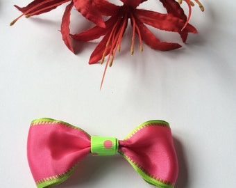 pink/lime green hair bow clip