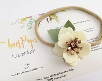 Small Anemone Flower Headband - Cream White