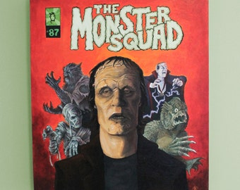 Famous Monsters, Monster Squad, Acrylic Painting, Wood Panel, Frankenstein, Dracula, Mummy, Wolfman