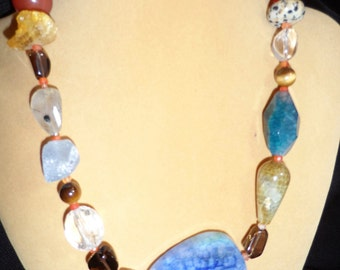 Quartz Pendant Necklace with Crystal Beading