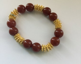 Carnelian and gold filled bracelet