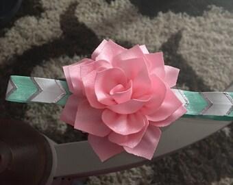Pink lotus flower turquoise elastic headband