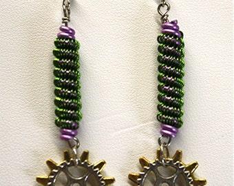 Coiled Wire & Gear Steampunk Earrings