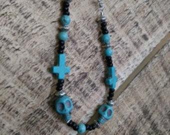 Dia De Los Muertos Bracelet; Day of the Dead; Turquoise