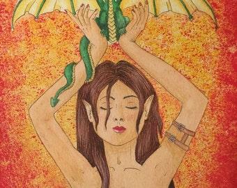 Painting fantasy: dragon love orange