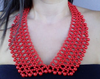 Bib necklace , statement red necklace, red bib necklace, red statement necklace, modern necklace, red necklace