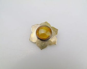 Vintage Solid Silver Amber Set Mexican TP 117 Pin Brooch