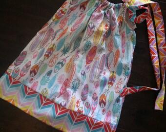 FREE MONOGRAM and hair bow with feather pillowcase dress.  chevron Fabric ties, pillowcase dress free 0-3mo thru 3T