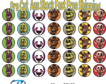 35x FNAF Five Nights At Freddies Edible Icing or Wafer Cupcake Toppers 35mm