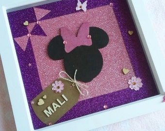 Personalised baby boy disney mickey mouse box frame nursery personalised disney minnie mouse box frame nursery decor new baby gift nursery wall negle Choice Image
