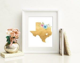 Texas Print,  Texas Wall Art, Texas Pride, Lone Star State, Gold Foil Style Texas Print, Texas Wall Decor, Gold Texas Print