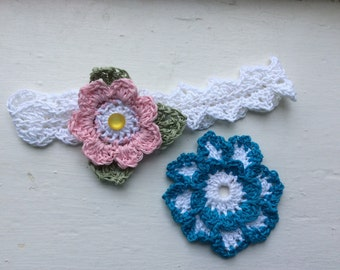 Toddler Girl's White/Pink/turquoise Cotton Crocheted Headband with Interchangeable Flowers