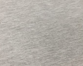 USA Made Premium Quality Cotton Light Weight Jersey Knit Fabric (Wholesale Price Available by the bolt) - 2530RH5 Heather Grey - 1 Yard