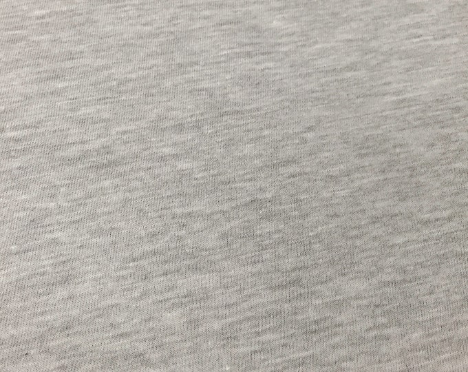 Cotton Light Weight Jersey Knit Fabric (Wholesale Price Available By The Bolt) USA Made Premium Quality - 2530RH5 Heather Grey - 1 Yard