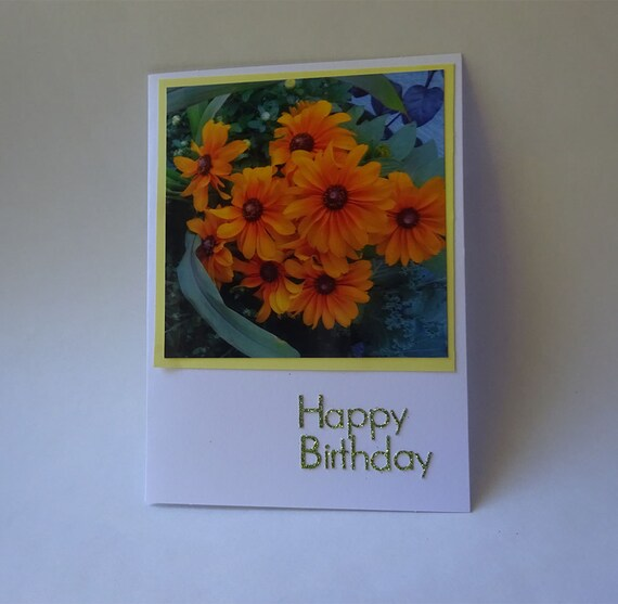 Birthday Card with Yellow Flowers #1989