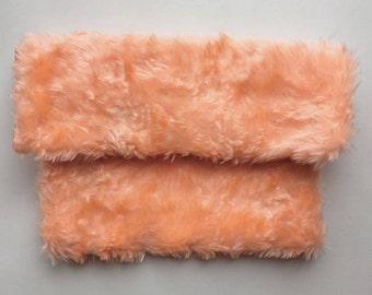Pale Peach Faux Fur Clutch Bag