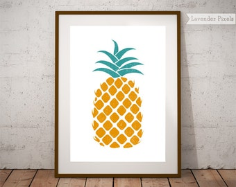 Instant download Printable art Teal and orange Pineapple decor Tropical print Hawaii art Teal wall art Orange poster Green wall art gifts