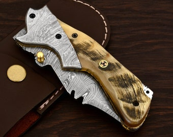 Ram horn custom hand made damascus knives:MODEL NUMBER B-55