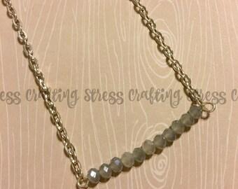 Light Gray Beaded Bar Necklace