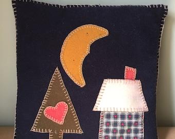 Folk Art Wool Hand-made Applique Pillow 1990s