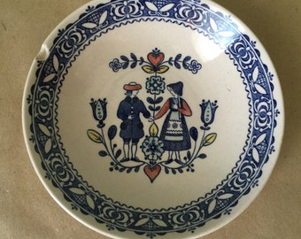 Staffordshire Old Granite Bowl of Hearts and Flowers Pattern 1970s Blue and White Bowl