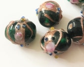 x6 - Oval - Vintage Emerald Green Gold Venetian Wedding Cake Lampwork Glass Beads