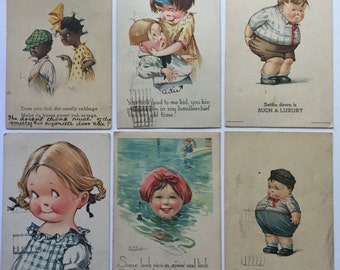Vintage Humorous Postcard Set - Set of Six 1919 and 1920