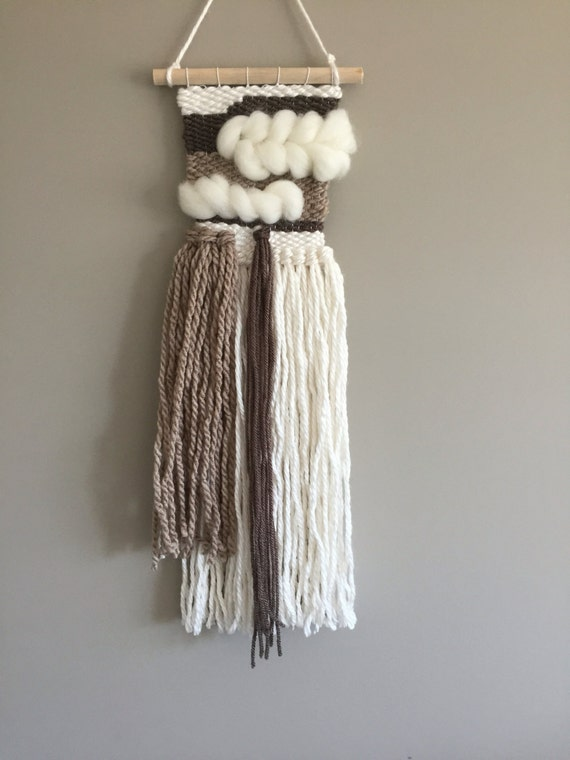 Mini woven wall hanging // MADE TO ORDER / Wall Hanging / Brown Cream White Neutral / Nursery Art / Home Decor / Boho / Wall Art /