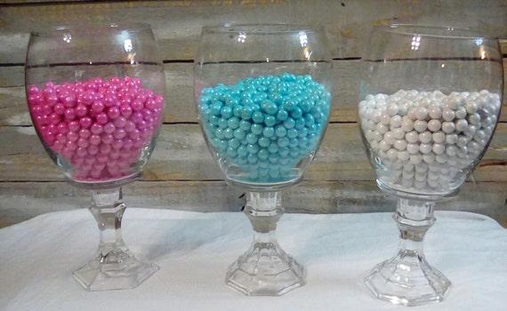 Candy buffet wedding reception glass jars centerpieces
