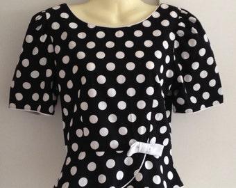 LANZ ORIGINALS black polka dot cotton top S uk 8/10 1950s style rockabilly