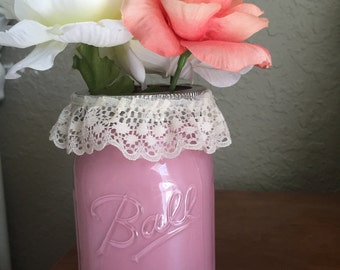 Pink Painted Mason Jar with Flowers