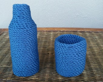 Nautical bottle and can coozie set