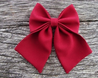 Bow tie brooch pin burgundy
