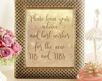 SALE 70% Advice and best wishes sign printable gold, printable gold wedding sign, please leave your wishes for the new mr mrs, string lights