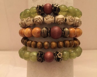 Tones of Nature Beaded Bracelet Set