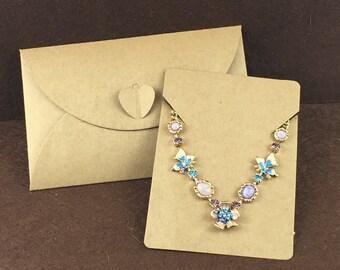 50PCS Kraft Paper Jewelry Bags+50PCS Necklace Cards Blank Jewelry Displays Packaging Set Cards Karft Bag Retro Sealing Bag