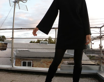 Wide Sleeves Black Jersey Minimalist Dress/Black Women's Tunic/Vintage Style Womens Dress