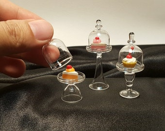 3 Stands glass cake cover for mini cake decorative dollhouse miniature