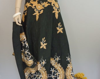 Vintage Boho Tuscan  Black & Gold Floral Full Wrap Skirt midi maxi skirt