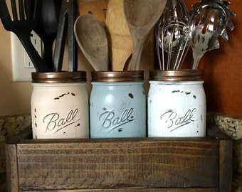 Mason jar utensil holder, Kitchen Utensil holder, kitchen organizer, mason jar kitchen storage