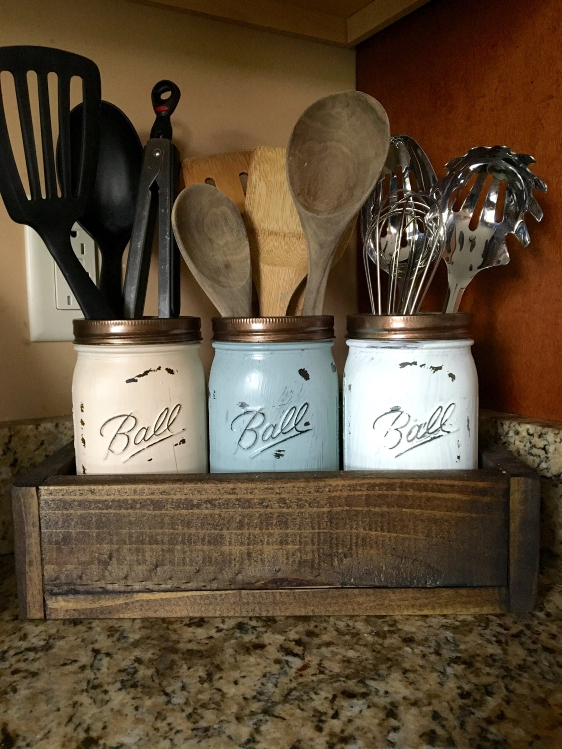 Mason jar utensil holder kitchen utensil holder kitchen for Kitchen jar ideas