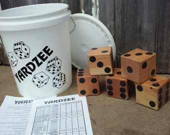 Yardzee - Lawn Dice - Yard Game - Reception Game - Wedding - BBQ Fun - Independence Day - Graduation Day - Picnic Party - Camping - Summer