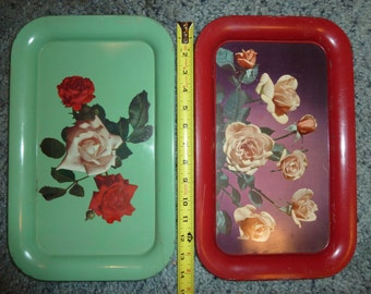 Set of 2 vintage painted metal serving trays