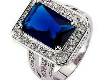 Cz sapphire silver ring